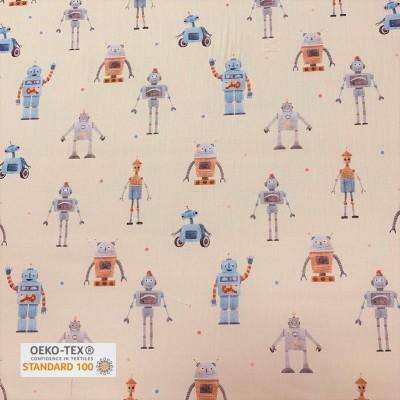 Tissu Satin de Coton imprimé - Robots