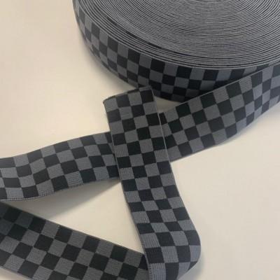 Bande élastique à carreaux 40mm - Noir/gris