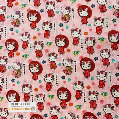 Tissu Coton HELLO KITTY - Kawaï