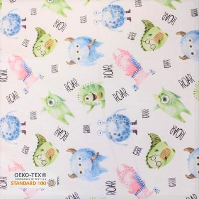 Tissu Coton satiné imprimé - Monstres - Bleu, Rose, Vert