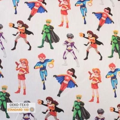 Tissu Coton satiné imprimé - Super girls