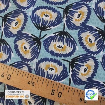 Tissu Coton enduit - TESAYA Nil/Bleu