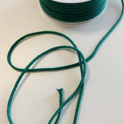 Cordon tressé coton 4 mm - Vert bouteille