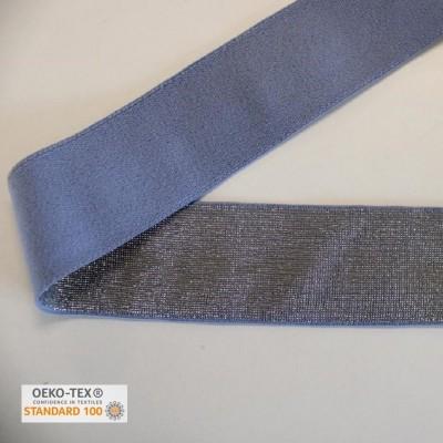 Elastique 40mm - Bleu lurex or