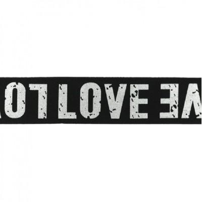 Elastique 40mm LOVE argenté - Noir