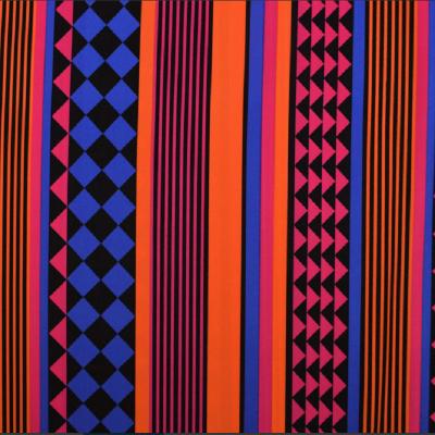 Tissu Lycra Ethnique - Orange/Bleu