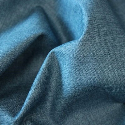 Tissu Coton aspect lin - Bleu denim - MAKOWER UK
