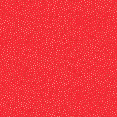 Tissu Coton imprimé Noël- Snowball Rouge/Or - MAKOWER UK