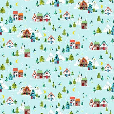 Tissu Coton imprimé Noël - Village de Noël Bleu ciel - MAKOWER UK