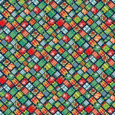 Tissu Coton imprimé Noël - Cadeaux de Noël Bleu - MAKOWER UK