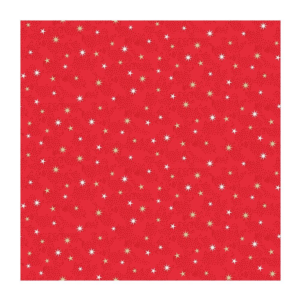 Tissu Coton imprimé Noël - Etoiles de Noël Scandinave Rouge - MAKOWER UK