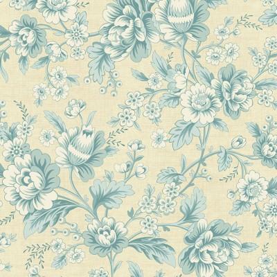 Tissu Coton imprimé -  BLUEBIRD Dahlia First Frost  - MAKOWER UK