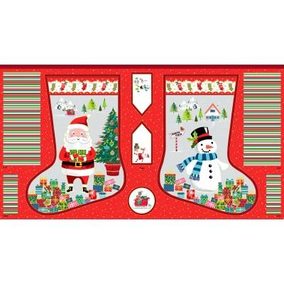 Panneau Coton imprimé - Chaussette de Noël - MAKOWER UK