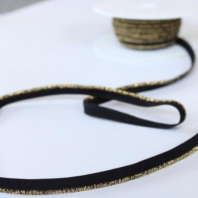 Passepoil élastique lurex doré 9mm - Noir