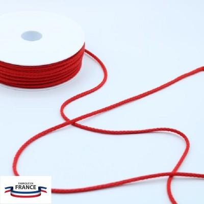 Cordon tressé coton 4 mm - Rouge
